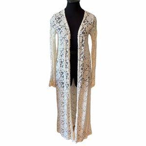 Haute Society Cream Floral Lace Long Kimono